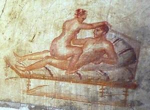 Bordello di Pompei, raffigurazione di una scena erotica.