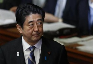 Japan's Prime Minister Shinzo Abe attends a lower house plenary session at the parliament in Tokyo