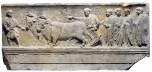 Cippo con bassorilievo che ritrae la cerimonia di fondazione di Aquileia, I secolo a.C.