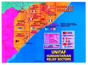Cartina contenente la dislocazione dei vari contingenti internazionali impegnati nella missione UNITAF