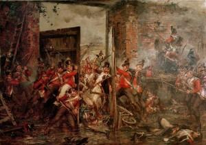 La resistenza degli inglesi, trincerati nel castello di Hougoumont