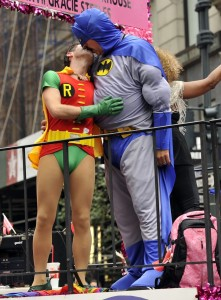 Two-men-dressed-up-Batman-Robin-kissed-during-NYC-Gay