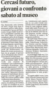 Anche il Tirreno di Livorno, con un trafiletto, ha scritto di noi e della conferenza di Sabato 26 Settembre.