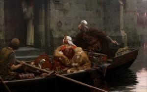 Edmund-Blair-Leighton-Wallpaper-English-painter-romanticism-Pre-Raphaelite-Middle-Ages-In-time-of-peril-picture