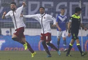 L'esultanza di Borghese nella sua seconda partita. Il giocatore è al suo secondo gol.