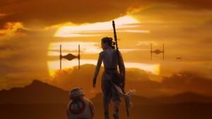 Rey e BB-8, i due protagonista del nuovo capitolo di Star Wars, Il Risveglio della Forza.