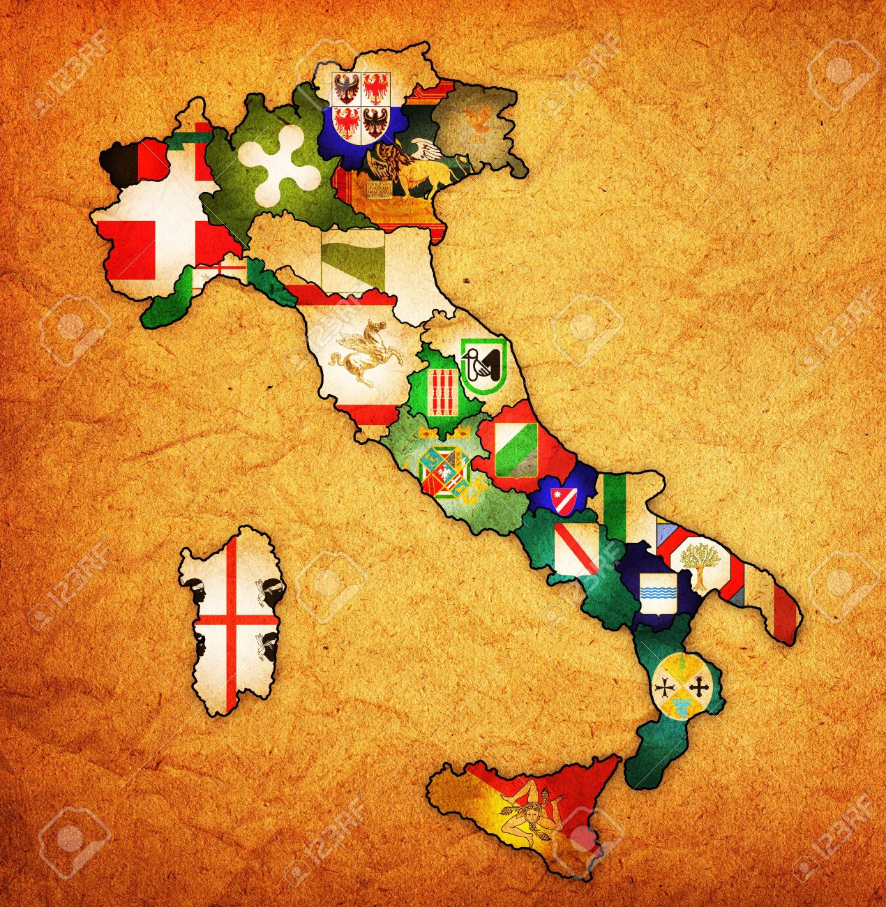 18088066-all-regions-on-administration-map-of-italy-with-flags-stock-photo