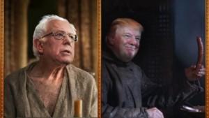 (In effetti Bernie Sanders ricorda un po' l'Alto Passero mentre Trump ha un che di Ramsay Bolton)