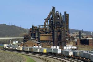 Un impianto siderurgico a Bethlehem, PA. Anche se il altiforni stessi rimangono intatti, parte della proprietà è stata venduta nel 2007 e trasformato in Sands Casino Resort Bethlehem.