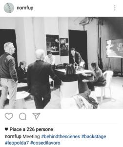 Renzi con i suoi fedelissimi durante l'ultima Leopolda - Foto tratta dal Profilo Instagram di Filippo Sensi (@nomfup)