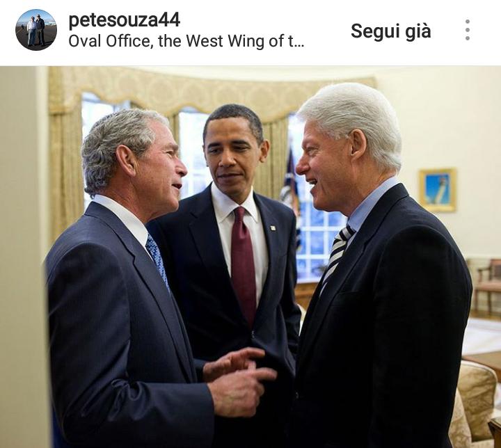 Obama con i due ex presidenti Bill Clinton e George W. Bush.