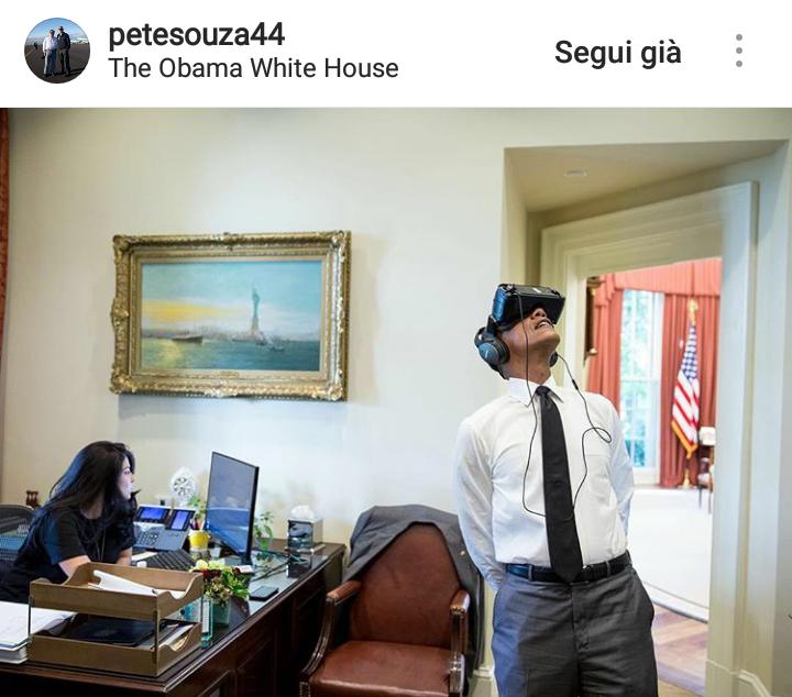 Obama sperimenta la realtà virtuale per la prima volta.