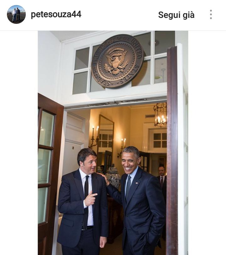 Obama con l'allora Presidente Matteo Renzi.
