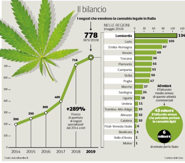 45 milioni di entrate, di cui 6 verso lo stato, per la legalizzazione della cannabis light